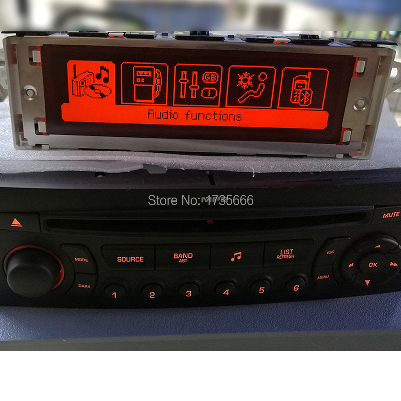 Multifonction support Écran USB Bluetooth Affichage rouge moniteur radio 12pin pour Peugeot 307 407/408 citroen C4 C5