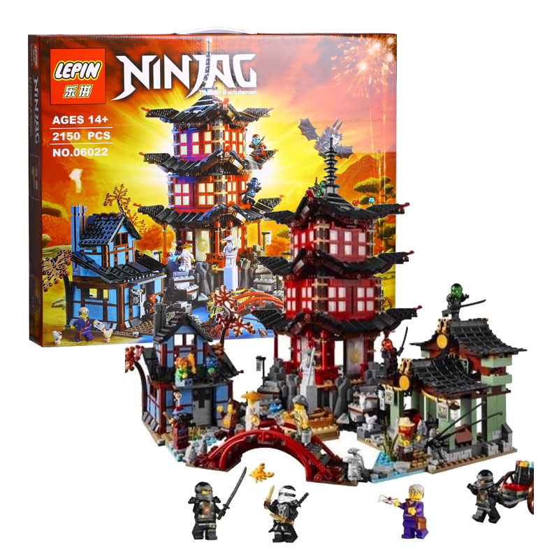 2150pcs LEPIN 06022 Ninjagot Set Temple of Airjitzu Lloyd Ninja Building Bricks Blocks Mini figures Toys