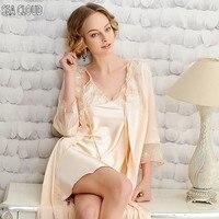 Summer sleepwear lounge women's spaghetti strap sexy nightgown robe silk medium long plus size bathrobes 3xl 2xl
