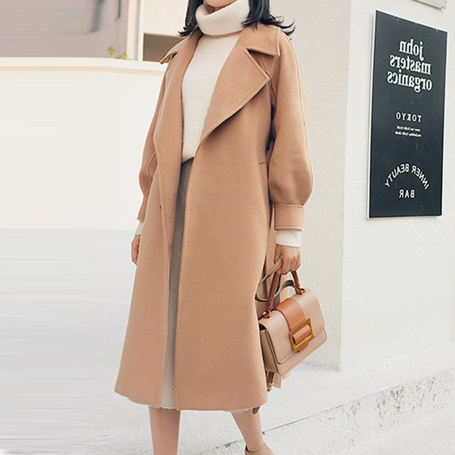 Delle Khaki Caldo Risvolto Usura Allentato Cappotto Dicloud Di beige Regolabile Casual Più Inverno brown Eleganti Cappotti Il Donne Cintura Lana Modo Outwear 2018 Formato pink TK1lJcuF35