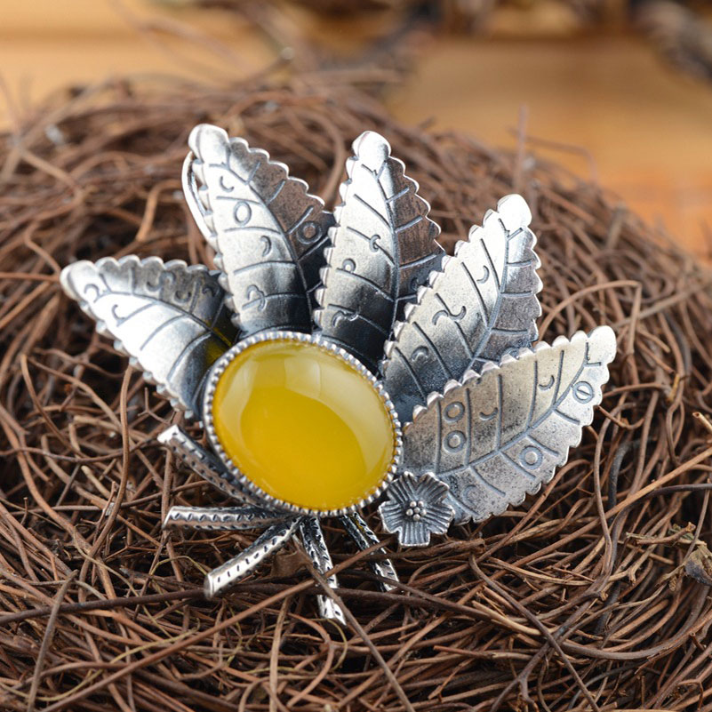 FNJ 925 Silver Leaf Pendant New Fashion Yellow Chalcedony 100% Pure S925 Solid Thai Silver Pendants for Women Men Jewelry Making
