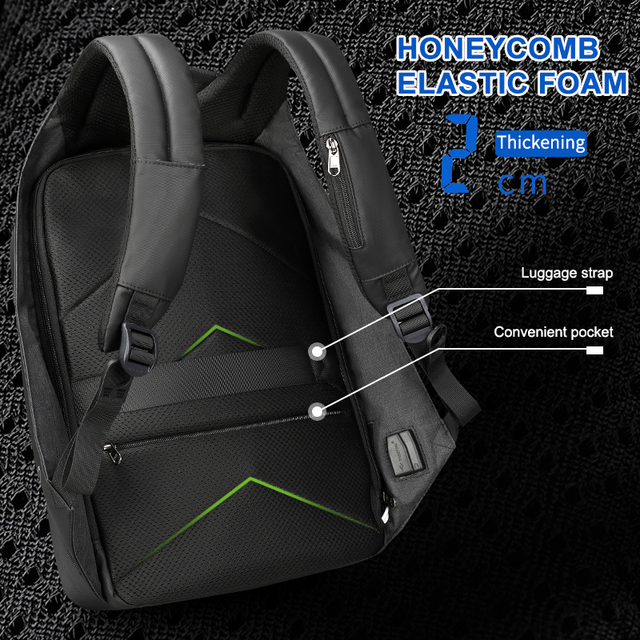 Hidden Anti theft Zipper with 15.6 inch Laptop Space and USB charging