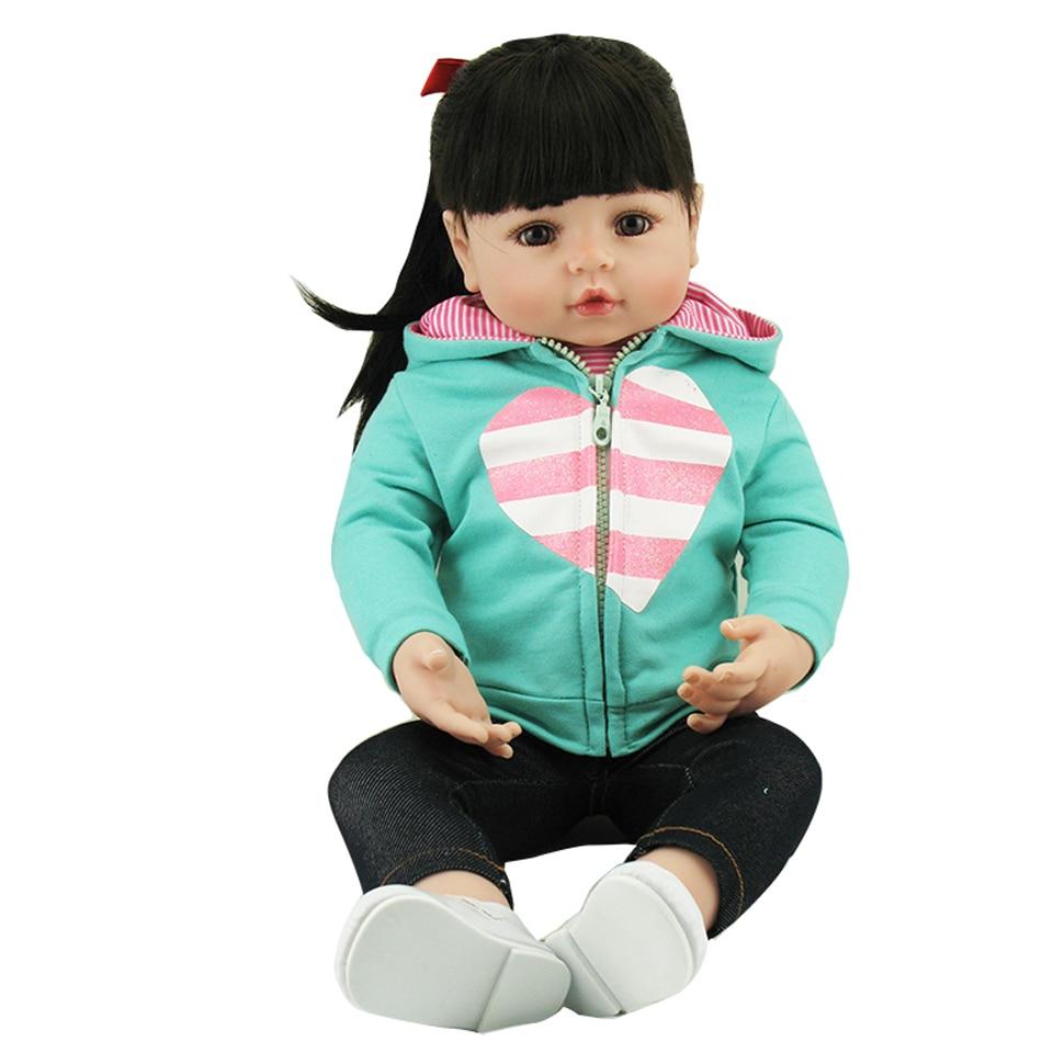 Здесь можно купить  2017 Tailored Reborn Baby Girl 22 Inch Soft Silicone Real Baby Dolls With Smooth Long Hair Lifelike Reborn Kids Birthday Gifts  Игрушки и Хобби