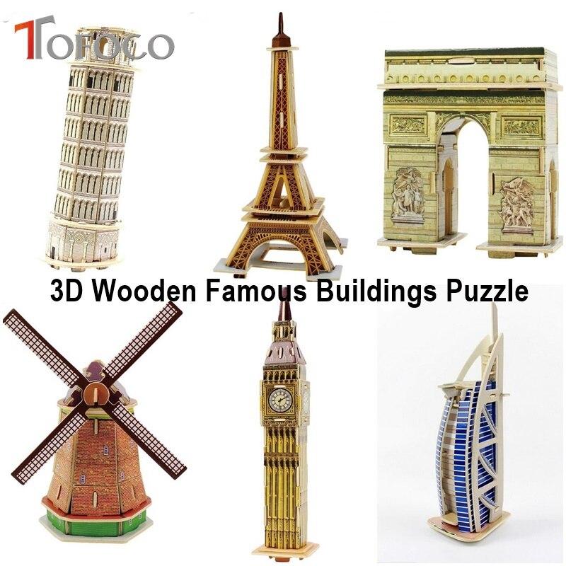 TOFOCO 3D di Legno Di Puzzle Famosi Edifici Puzzle Torre Eiffel Burj Al Arab Giocattoli Educativi Mulino A Vento Arc de Triomphe Big Ben Kid