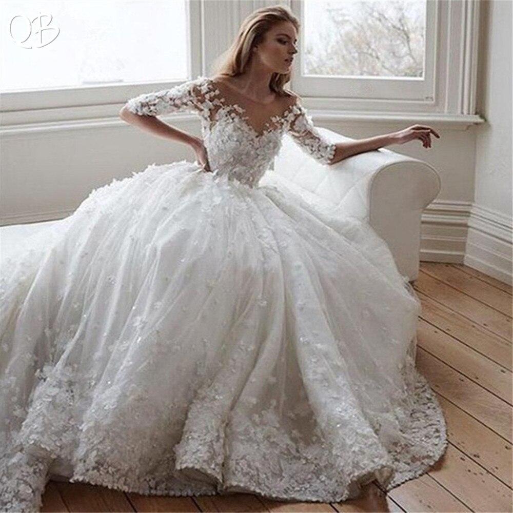 Fait sur mesure Princesse Demi Manches Tulle Dentelle 3D Fleurs Perles Appliques De Luxe Vintage robes de mariage 2019 robes de mariée XL05