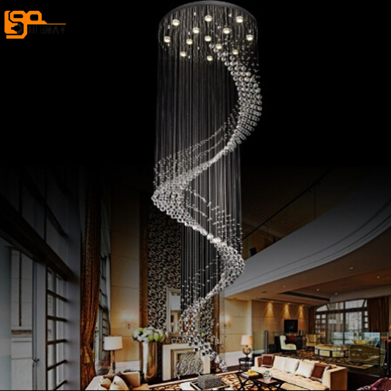 New Lustre Design Long Spiral Chandeliers Crystal Lighting
