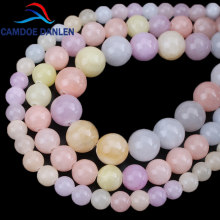 Natural Stone Morganite Color Chalcedony Beads Round Loose Beads 6mm 8mm 10mm For DIY Necklace Bracelet Jewelry Making(China)
