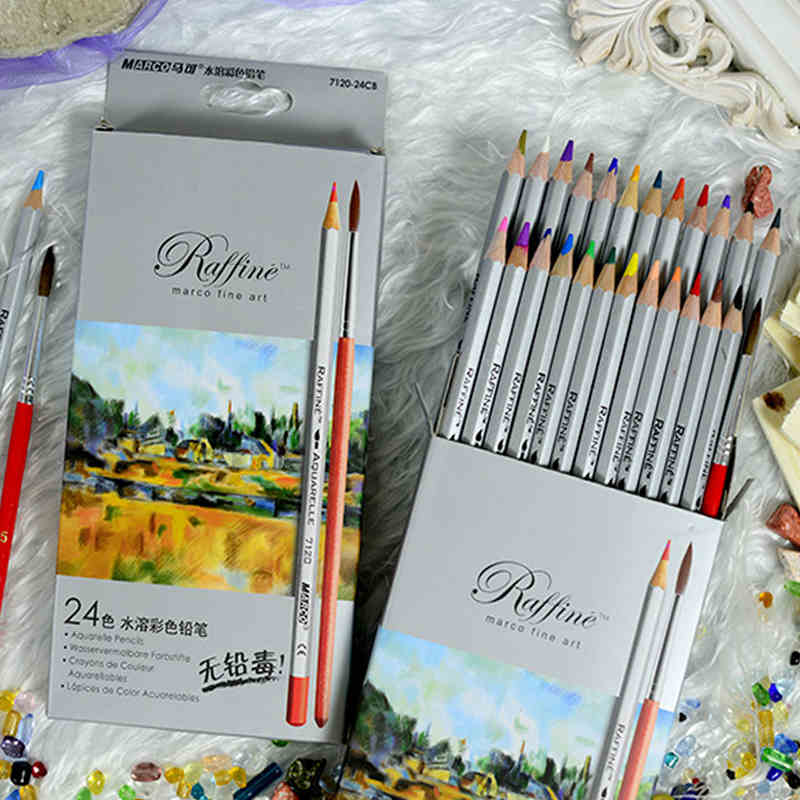 Marco 7120 Fine Art 2436 Color Drawing Watercolor Pencils set for Artist Paper box