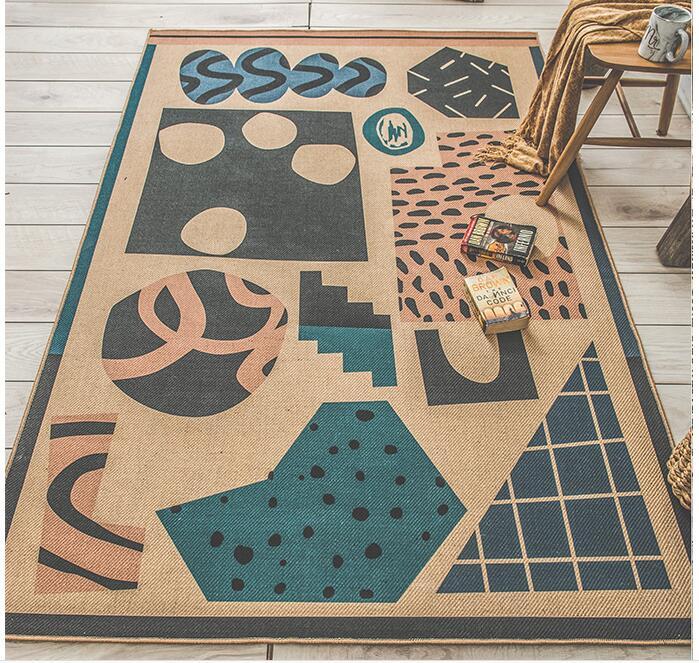 Европейский Стиль джут Гостиная ковер диван Чай Таблица двери коврик для прихожей Спальня татами Творческий джут, коврик кабинет коврик