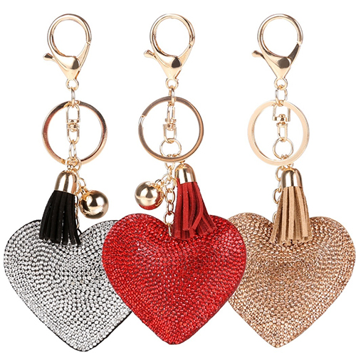 Women Key Chain Love Heart Shape Rhinestone Tassels Bag Charms Keyring In Chains From Jewelry Accessories On Aliexpress Alibaba Group