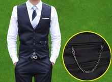 Mens traje chaleco Slim fit chaleco negro navy chaleco chalecos chaleco hombre chaleco botón de la cadena formal de traje de vestir para hombre chalecos