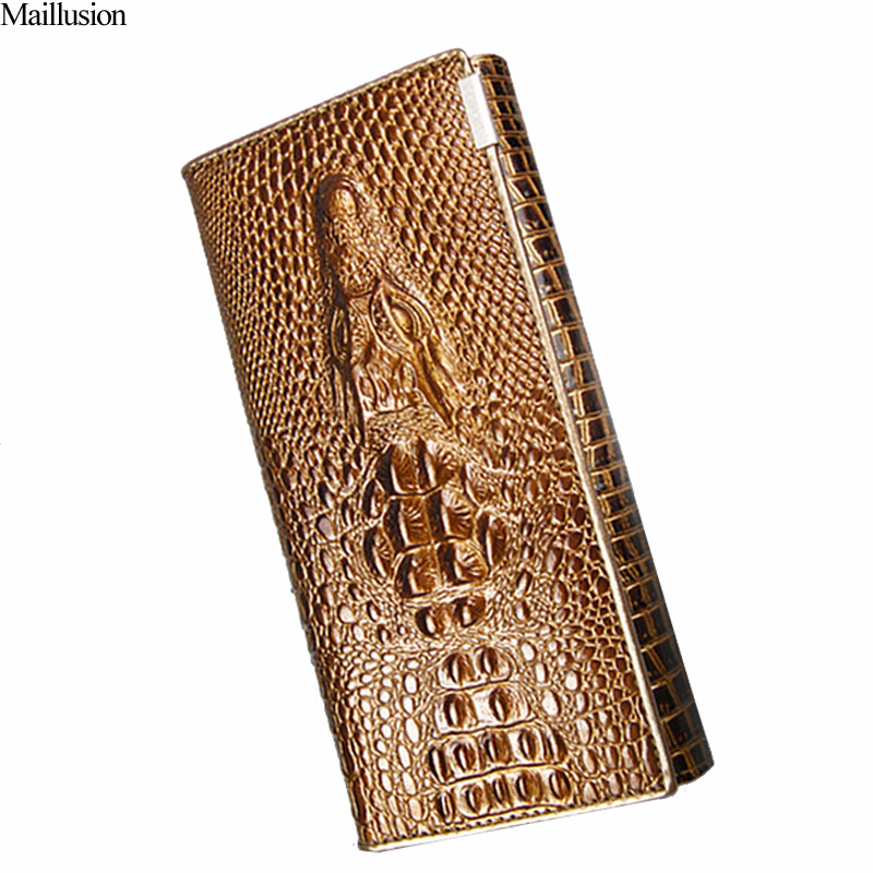 Women Wallet Female 2018 Coin Purses Card Holders Brand Genuine Leather 3D Embossing Alligator Ladies Crocodile Long Clutch Bags