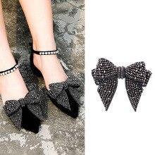 цена Bowknot Crystal Decorations Shoes Clips Wedding Party Shoes Accessories Women Elegant Shoes Rhinstones Ornament Shoe Decorations в интернет-магазинах