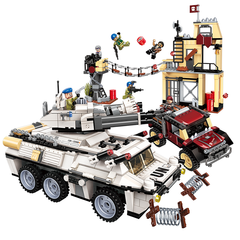 Enlighten Military Building Block Peacekeeping Force Thunder Mission Heavy Armed Vehicle Attack 935pcs Educational Brick