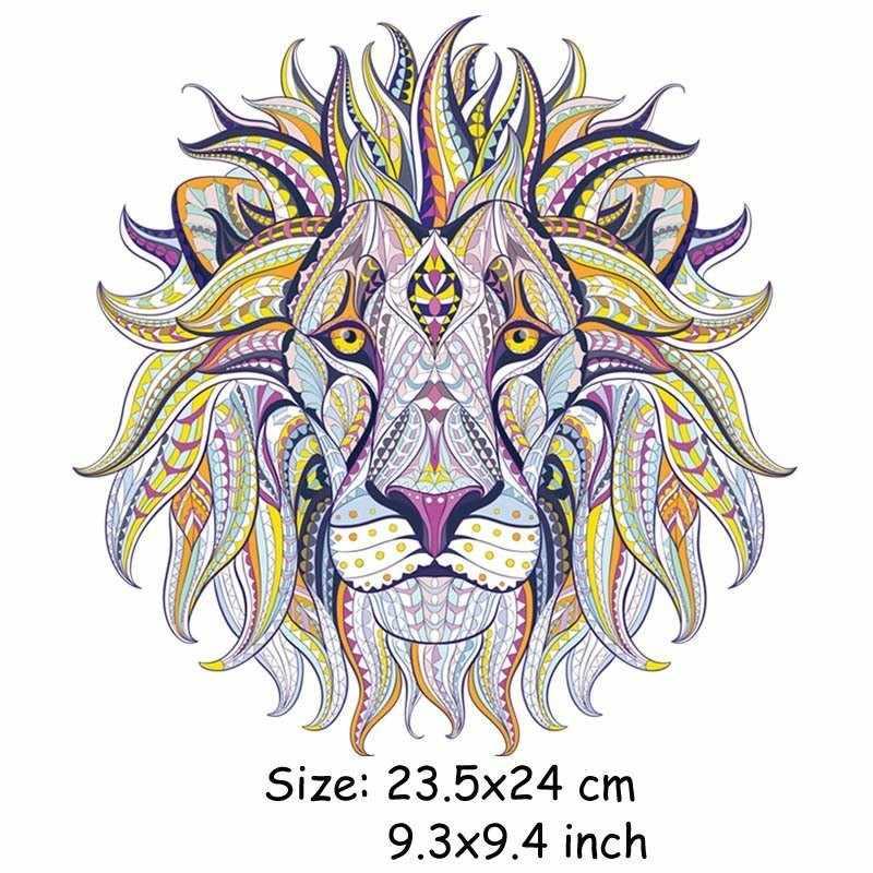 Cienkiej żelazko na plastry transferu odzieży fajne 3D tygrys lew król naklejki na topy T-shirt gospodarstw domowych DIY dekoracji aplikacja