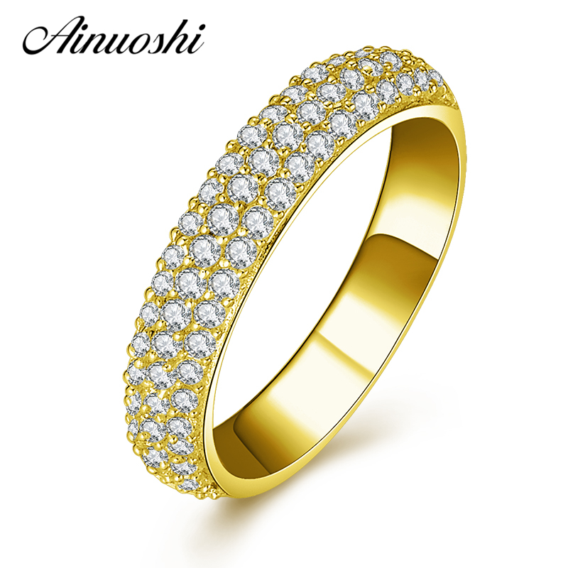 AINUOSHI Trendy 10K Solid Yellow Gold Band Women Wedding Rings Sona Simulated Diamond 3 Rows Drill Lovers Couple Engagement Ring 18k gold ring pair ring lovers couple simple and elegant male female solid au750 wedding engagement hot sale new trendy size7 18