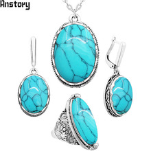 Oval Natural Stone Jewelry Set Choker Necklace Earrings Rings For Women Hollow Flower Pendant Stainless Steel Chain