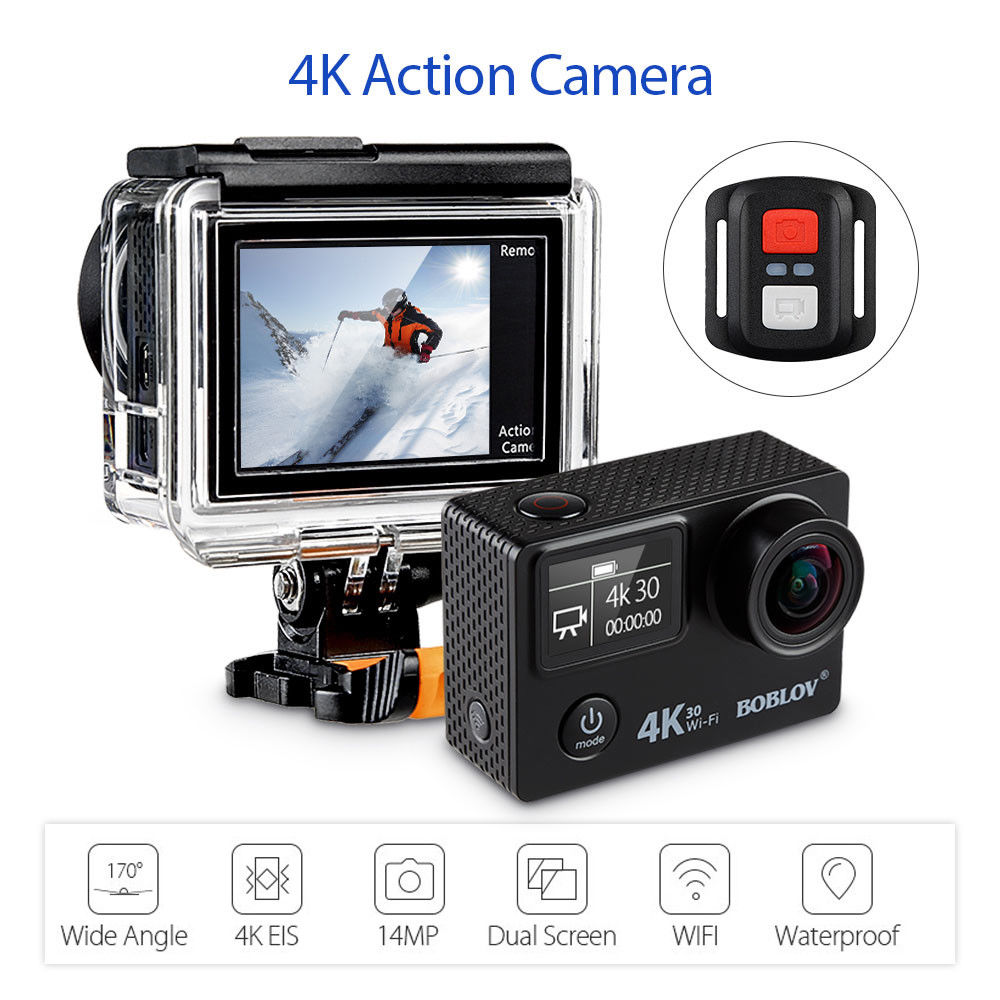 Boblov V8S 2LCD Screen HD 1080p 4K EIS 14MP WIFI Sports Action Camera Ultra Waterproof DV 170 Degree Wide Angle Video Camcorder