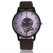Women Men Fashion Skull Leather Band Analog Quartz Round Wrist Watch Watches(China)