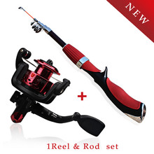 Sougayilang Outdoor Supplies Portable Fishing Rod Spinning Fishing Reel Tools Tackle Fishing Rod and Reel Combo Kit Set