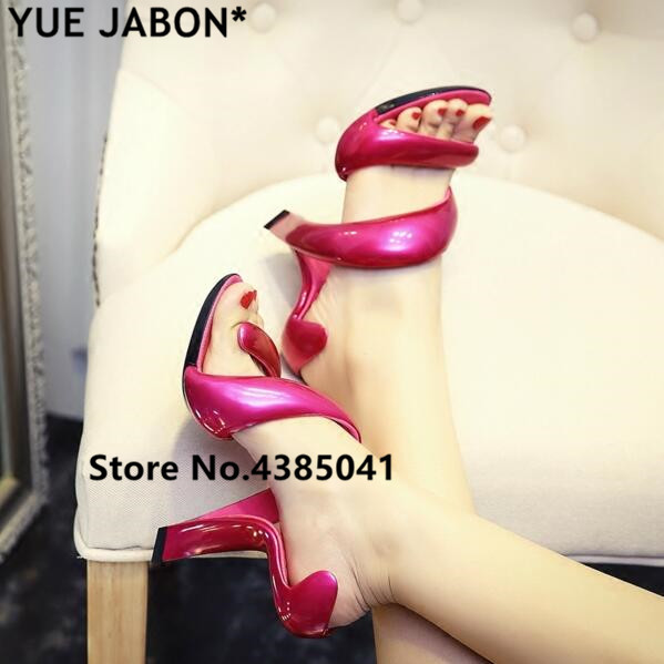 Red Snake High Heels Sandals Women 2018 Gladiator Fashion Summer Ladies  Pumps Platform Nightclub Sexy Wedding Shoes White Silver d19f1a1a0794