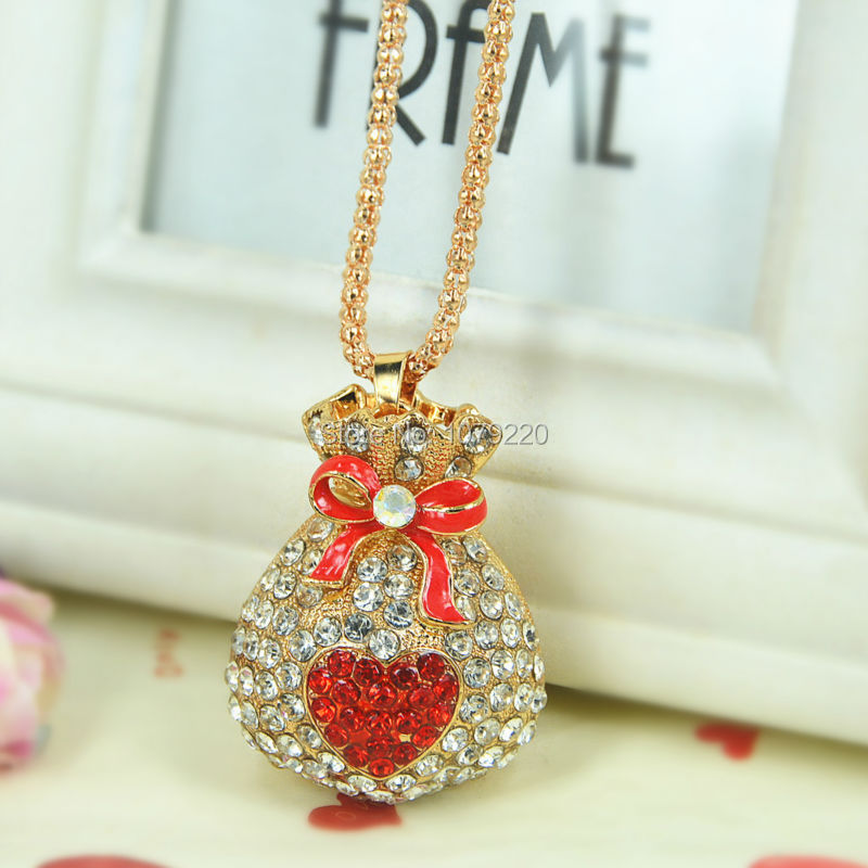 Purse Bag Sweater Necklace Jewelry Crystal For Women Long Necklace Pendants Rhinestone Chain Christmas Valentines Lover Gift