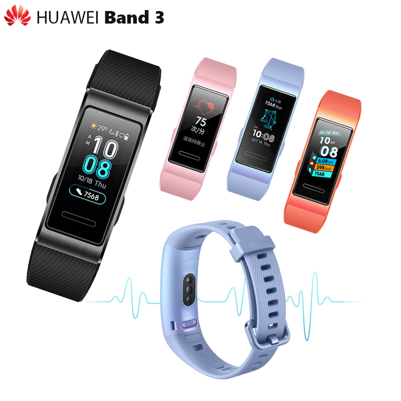 100 Original Huawei Band 3 3 Pro Smart Band GPS Metal Frame Amoled Color Touchscreen Swim