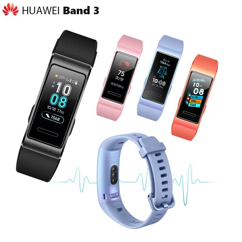 100% Original Huawei Band 3/3 Pro bande intelligente GPS métal cadre Amoled couleur écran tactile nager capteur de fréquence cardiaque sommeil tracker