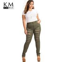 Kissmilk 2017 Vrouwen Plus Size Legergroen Hoge Taille Verontruste Skinny Jeans Broek Ripped Big Size Potlood Broek 3XL-6XL 72536