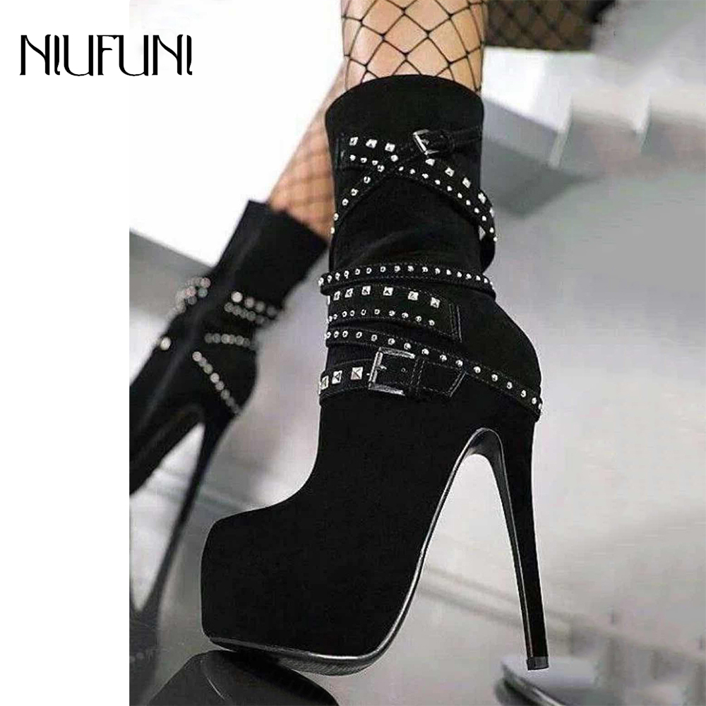Women Boots Super High Heels Platform Ankle Boots Crystal Rhinestone Metal Chains Rivet Motorcycle Boots Sexy Zipper Female Boot