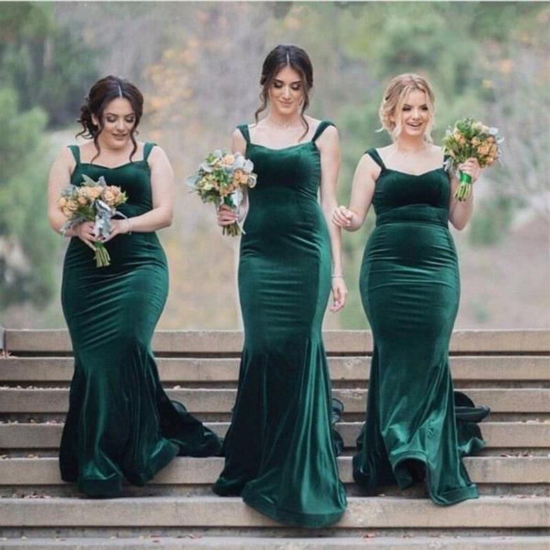 Glamour Cap manches sirène robes de demoiselle d'honneur velours vert femmes tenue de mariage robe sur mesure robes 2018 grande taille
