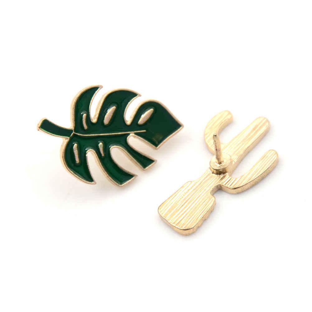 Hijau Tanaman Kelapa Pohon Meksiko Kaktus Daun Logam Bros Pin Diseduh Sendiri Tombol Pin Denim Mantel Pin Lencana Perhiasan