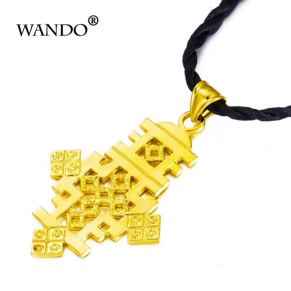 قلادة واندو عالية الجودة لون ذهبي تقليدي متقاطع إثيوبي إريترية مجوهرات أثيوبية إكسسوارات على الطراز الأفريقي هدية ws35