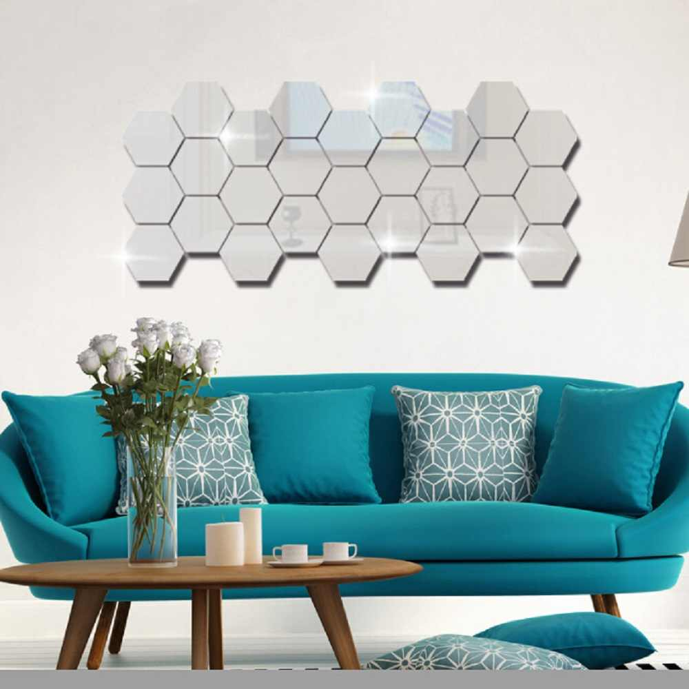 6/12PCs Geometric 3D Hexagon Mirror Wall Sticker Home Decor Enlarge Living Room Removable Safety 5 Sizes DIY Wall stickers