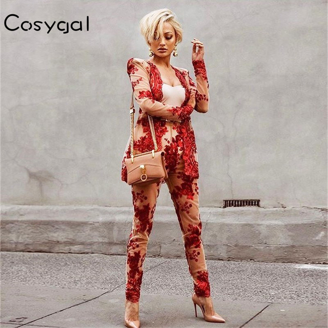 COSYGAL Sexy Women Two Piece Suits 2018 Summer Long Sleeve Deep V Neck  Black Red Rompers Suits Club Party Bodycon Overalls abeeab1ad852
