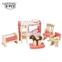Wooden House Furniture Miniature Kids Room Bedroom Set Kids Play Doll House Furniture Toys For Baby Birthday Gift(China)