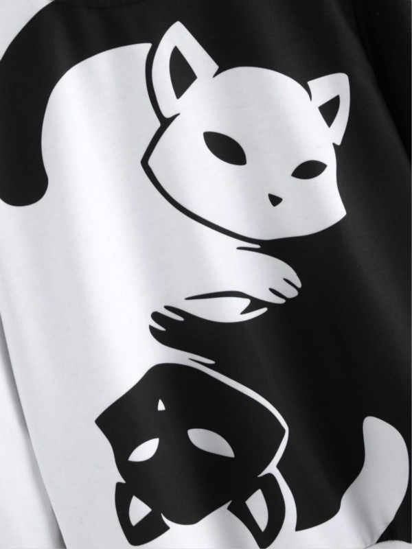 الأزواج أبيض وأسود يين يانغ القط هوديس طويلة الأكمام البلوز كيتي طباعة بلوزات لينة ومريحة ملابس رياضية فضفاضة