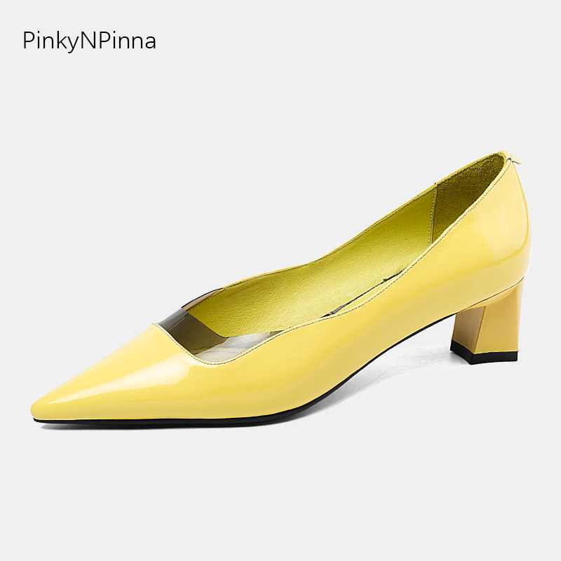 Ladies genuine leather pumps candy yellow color square med heels pointed toe PVC front four seasons dress office women shoesLadies genuine leather pumps candy yellow color square med heels pointed toe PVC front four seasons dress office women shoes