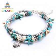 Купить с кэшбэком Anklet Jewellery Bohemia BeachTrendy Style Shell Beaded Starfish Little Turtle Anklets Gift