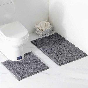 Image 4 - 2 adet/takım Shaggy kaymaz Banyo Tuvalet Paspas Seti Şönil Emici Banyo Halısı Ayaklı Küvet Mat
