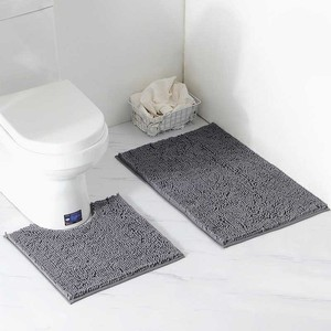 Image 4 - 2 teile/satz Shaggy Anti slip Bad Wc Matten Set Chenille Saugfähigen Bad Teppich Sockel Bad Matte