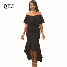 QILI Ruffles Party Dress Women Slash Neck Off Shoulder Mid-Calf Asymmetrical Bodycon Dresses High Street Casual