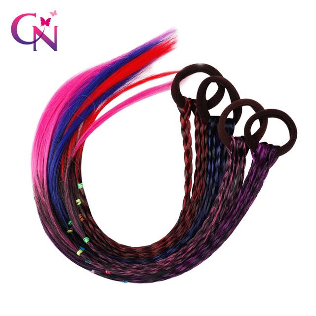 CN Hair Accessories Hair Bands Colourful Wigs Braid Women Girls Hair Scrunchie Rubber Bands Fashion Headbands Elastic Hair Ties