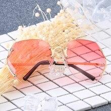 2019 Fashion Frameless Square Sunglasses Women Brand Design Metal Frame New Oversized Candy Color Lens Trend UV400