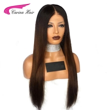 Carina Lace Front Human Hair Wigs with Baby Hair Pre-Plucked Hairline Malaysian Straight Remy Hair Ombre Color Glueless Wigs