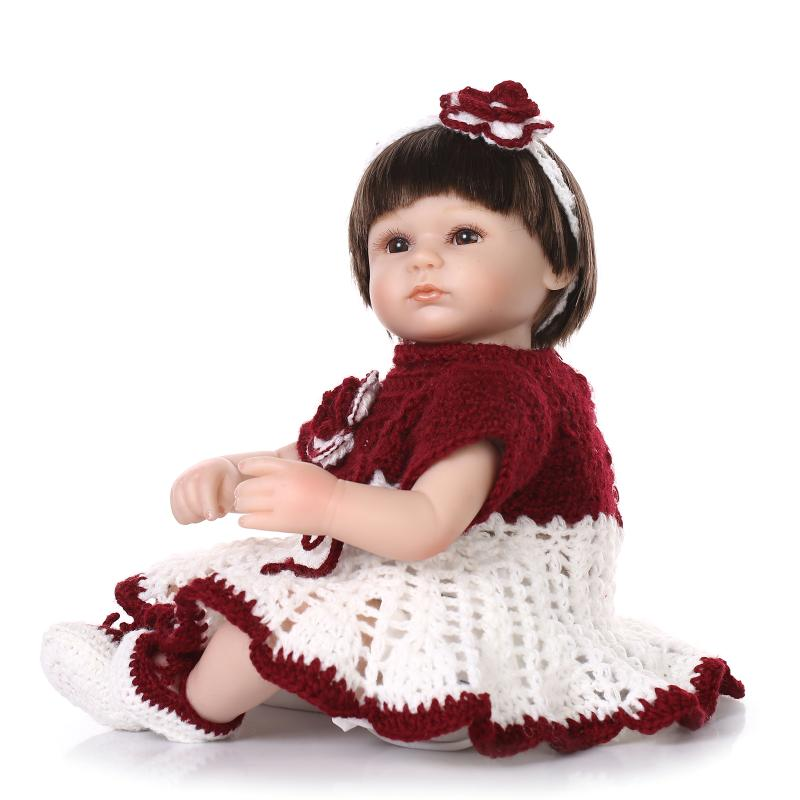 ФОТО 18Inch kids doll toys silicone reborn baby girl Cotton Body magnetic mouth  classic toys for children brinquedo menina