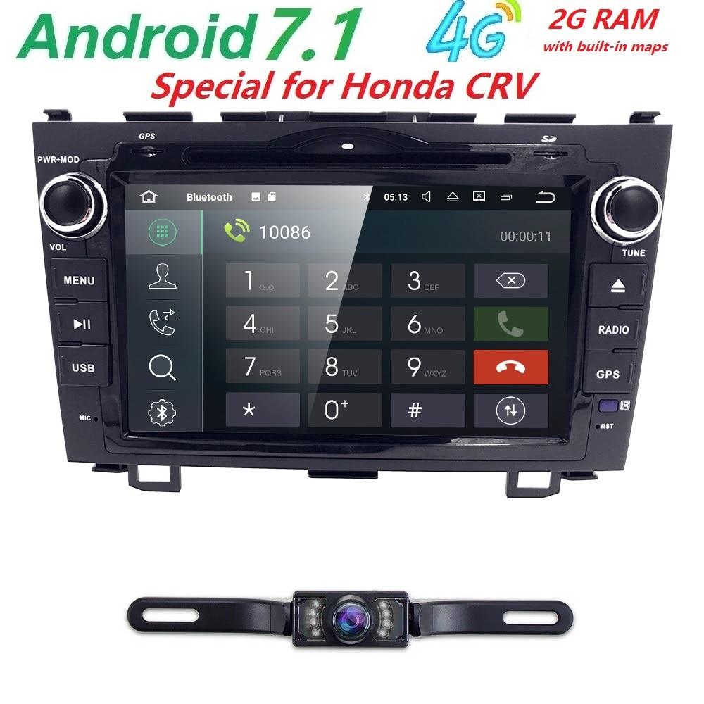 Camera Android 7 1 HD Quad Core 1024X600 Car DVD Player For Honda CRV CR V