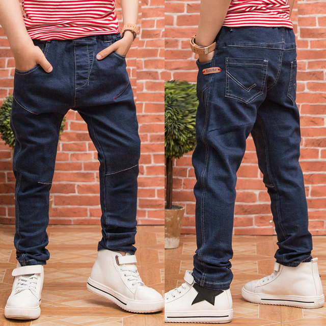 New 2017 Children Jeans For Boys Autumn and Spring  Dark Blue Denim Pants Baby Kids Jeans Washed Mid Boy Jeans Trousers