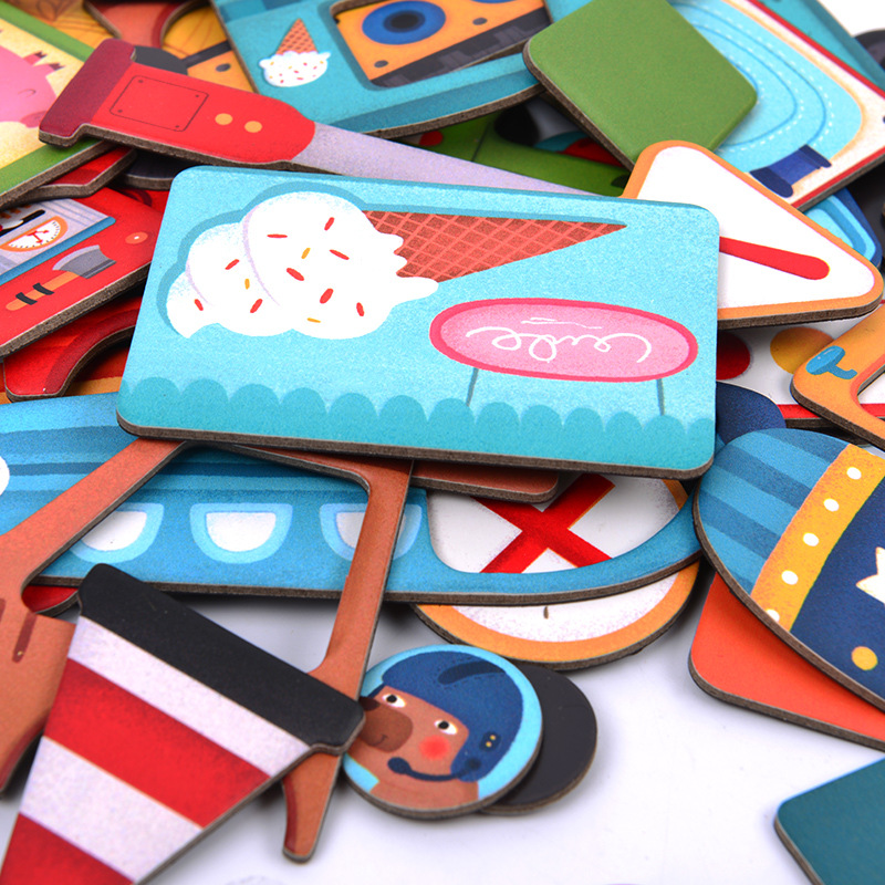 En bois Enfants Jouets Éducatifs Aimant Dressing Magnétique Puzzles Jeu Ensemble Amusant Réutilisable Autocollants pour Enfants Cadeau De Noël - 4