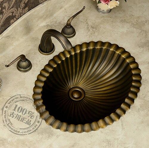 Classique bronze bassin salle de bains de lavage bassin contre bassin mode vintage rustique bassin de cuivre
